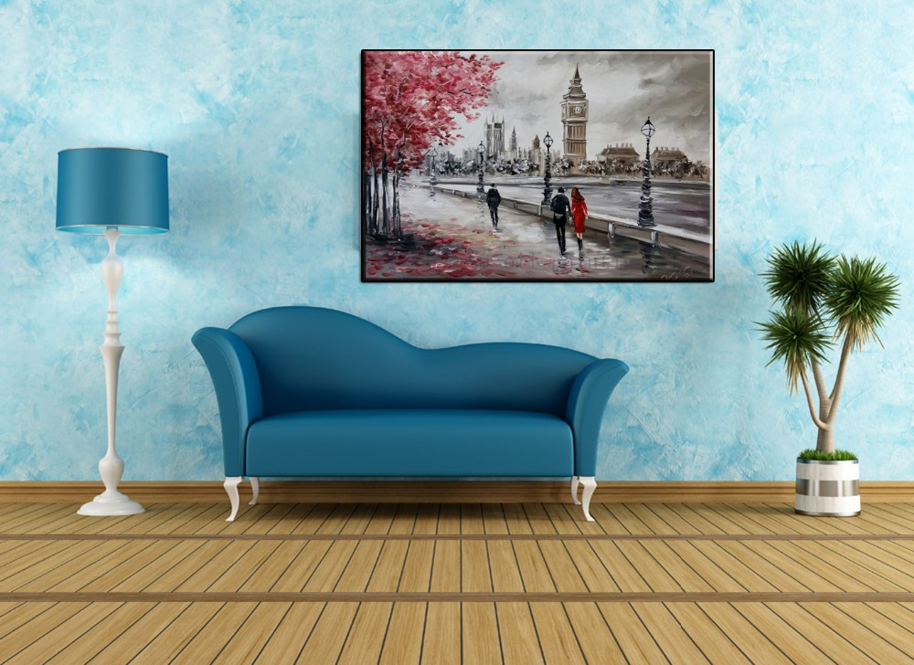 Buy Handmade High-quality Modern Wall Art Streetscape Palette Knife Oil Painting On Canvas Handicraft Black and White Style Decor cheap