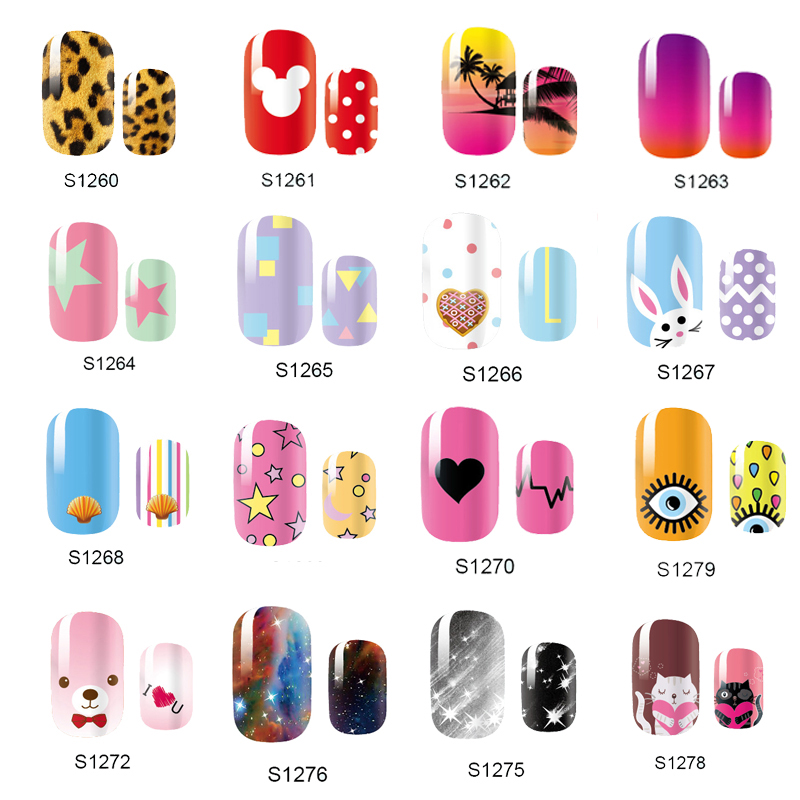 NEW Cute 14 Tips Self Adhensive Nail Wraps Full Cover Foil Galaxy Nail Tips Mixed Styles Nail Sticker Decals(China (Mainland))
