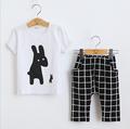 Girls Summer Casual Clothes Set Children Short Sleeve Cartoon T shirt 7points pants Sport Suits 2016
