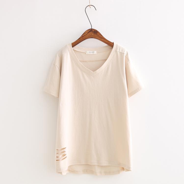 2016 Fashion Hole t-shirt summer women and girl solid white Khaki sky blue o-neck modal t shirt net weight about 0.16 kg(China (Mainland))
