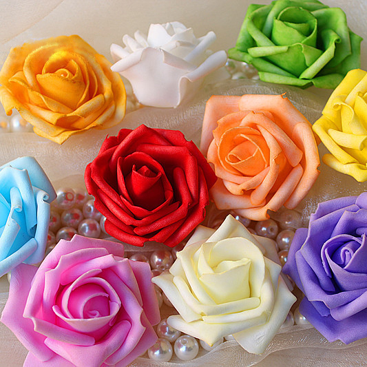 Hot Sale Artificial Foam Roses For Home And Wedding Decoration Flower Heads Kissing Balls For Weddings Multi Color 7 Cm Diameter(China (Mainland))
