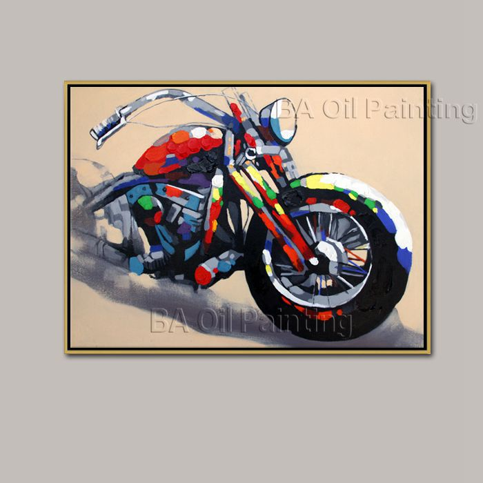 Canvas Modern Wall Painting HandPainted Motorcycle Home Decoration Art Picture Paint Abstract - Xia Men Beautiful Oil store
