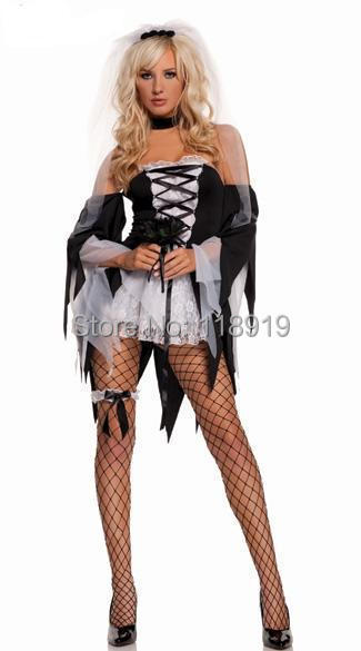 2015 New Adult Womens Sexy Halloween Party Ghost Bride Costumes Outfit Fancy Cosplay Dresses Size M(China (Mainland))