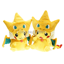 2015 New 25cm Pikachu Cosplay Charmander Brinquedo Plush Toys Fashion Cartoon Plush Toys Movies & TV(China (Mainland))