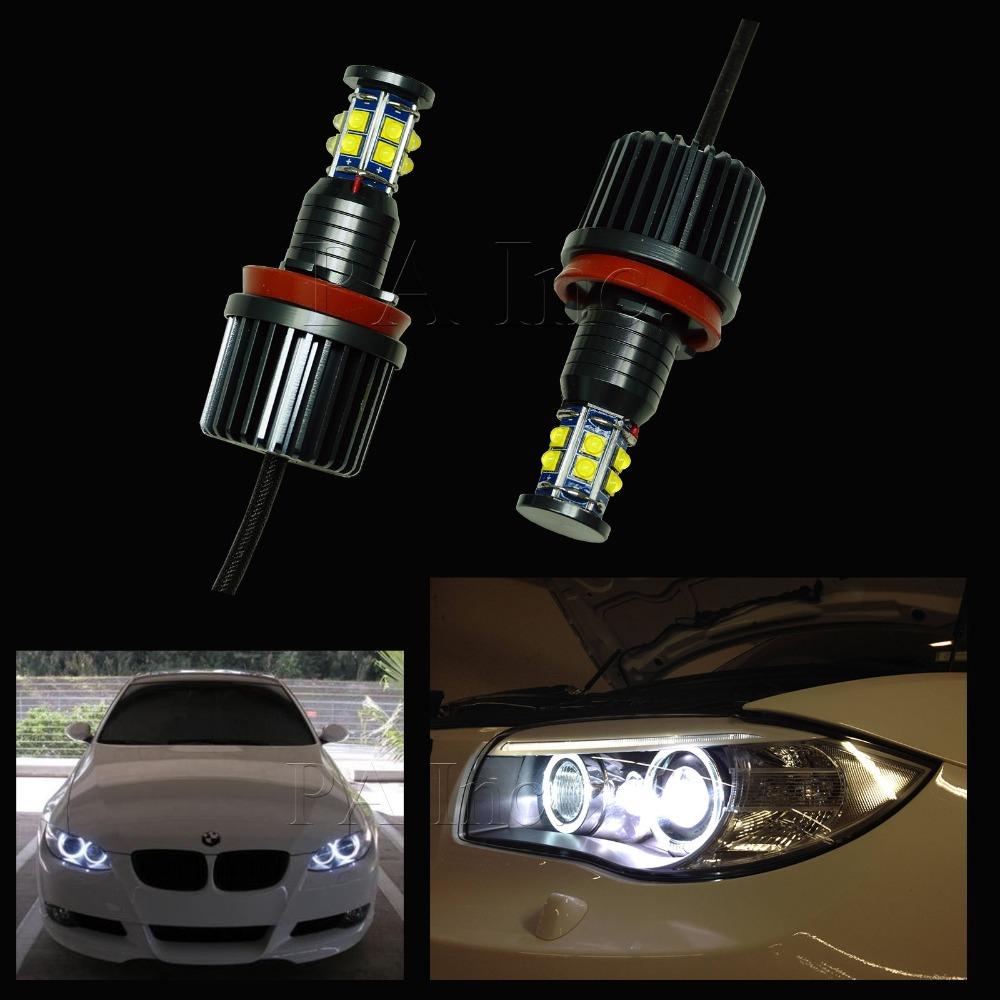 2PCS 120W H8 LENS Angel Eyes Halo Ring For BMW LED Auto Lamp Headlight Fog Light Daytime Running Light Lamp Bulb White