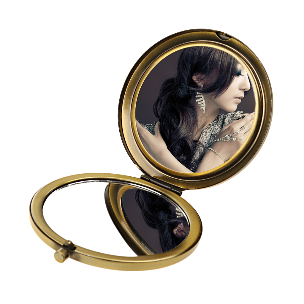 New Hot Folding Mini Portable Ancient Bronze Alloy Folding Pocket Compact Mirror Double-sided Magnifying Make Up Tool