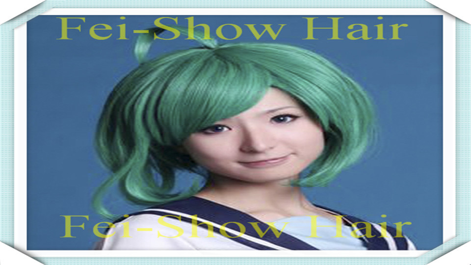 Green Wigs Synthetic Afro Kinky Short Wavy Silver Hair Lolita Wig Perruque Modern Show Haircuts Peruk Pelucas Cosplay Green Wigs<br><br>Aliexpress