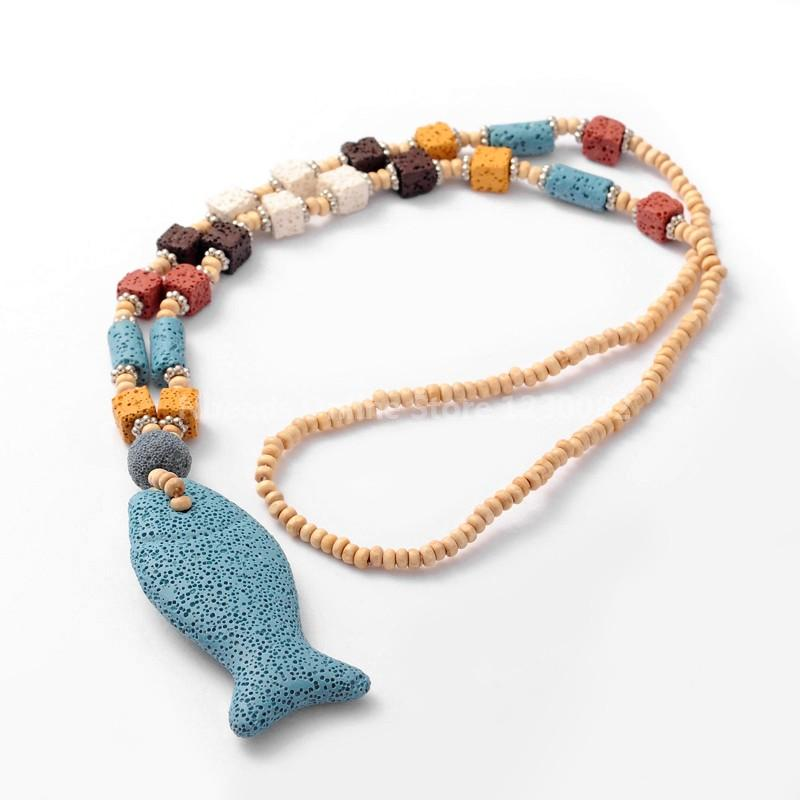 """wood beaded lava ichthy/jesus fish pendant necklaces, with platinum plated brass findings and stone beads, skyblue, 31.4""""(China (Mainland))"""