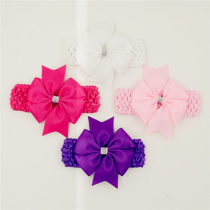 Classic headbands hair elastic bands ribbon bows kids infant baby girls head wraps accessory lace satin flower hairband headwrap(China (Mainland))