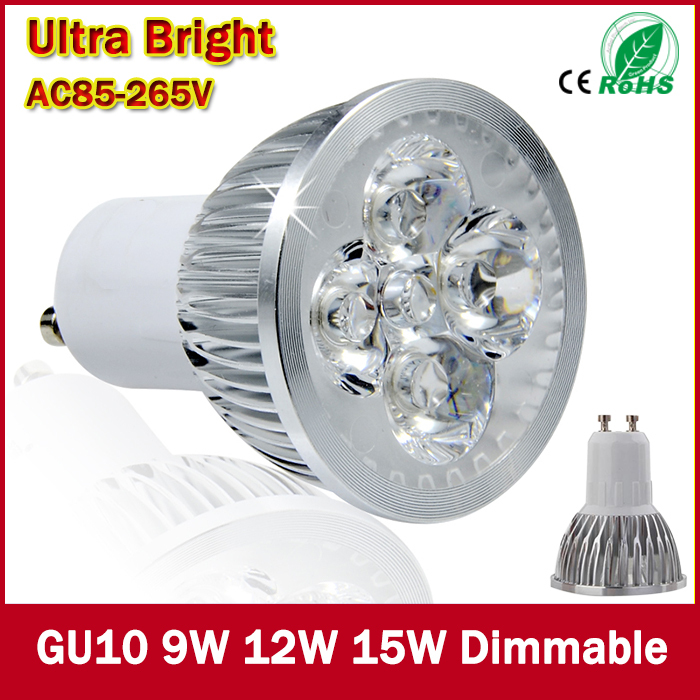 1pcs Super Bright 9W 12W 15W GU10 LED Bulbs Light 110V 220V Dimmable Led Spotlights Warm/Cool White GU 10 base LED downlight(China (Mainland))