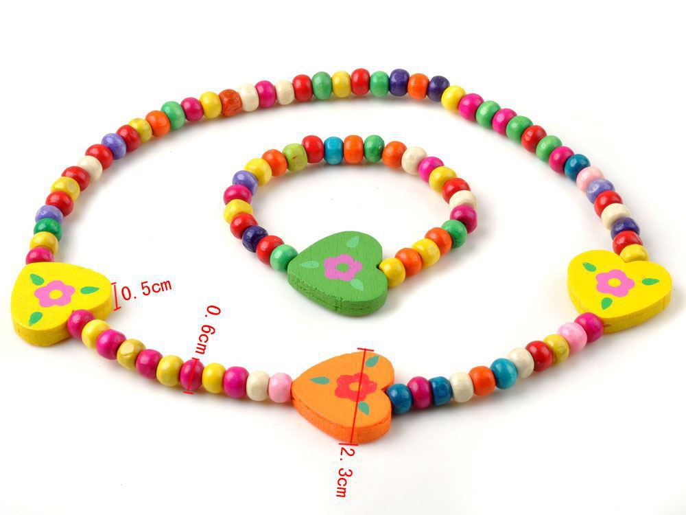 Wholesale Lot 12Sets Mixed Design Wooden Bead Cute Necklace Bracelet Party Gift Kid Children's Jewellery Set Free(China (Mainland))