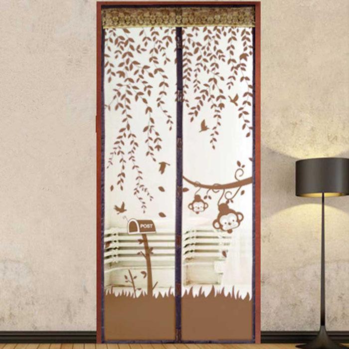 Cortina de puerta marr n compra lotes baratos de cortina for Mosquitera magnetica puerta