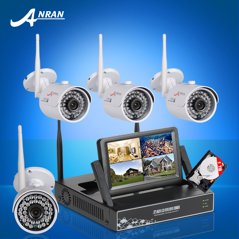 4CH CCTV System Wireless NVR Kit 7 Inch LCD Screen P2P Plug And Play 720P HD WIFI IP Camera IR Outdoor Security Camera 1TB HDD(China (Mainland))