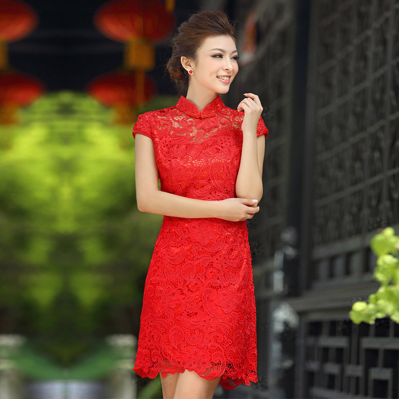 Urged 2013 bride lace cheongsam fashion red wedding evening dress married cheongsam short design 203(China (Mainland))