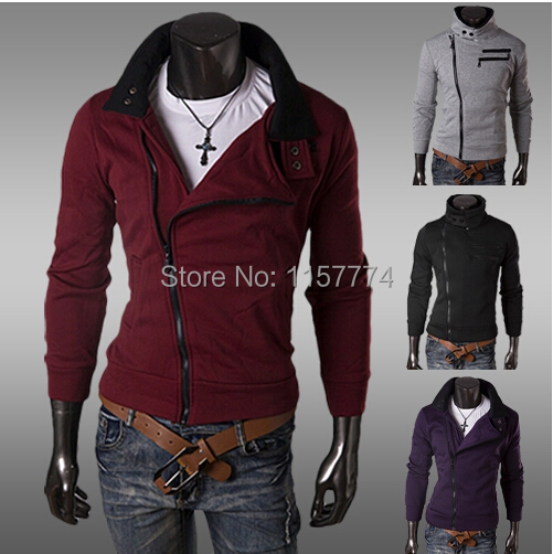 New style Cotton blended Hooded Collar casual sports Coats Jackets Hoodies unique zipper design Sweatshirts 4 color(China (Mainland))