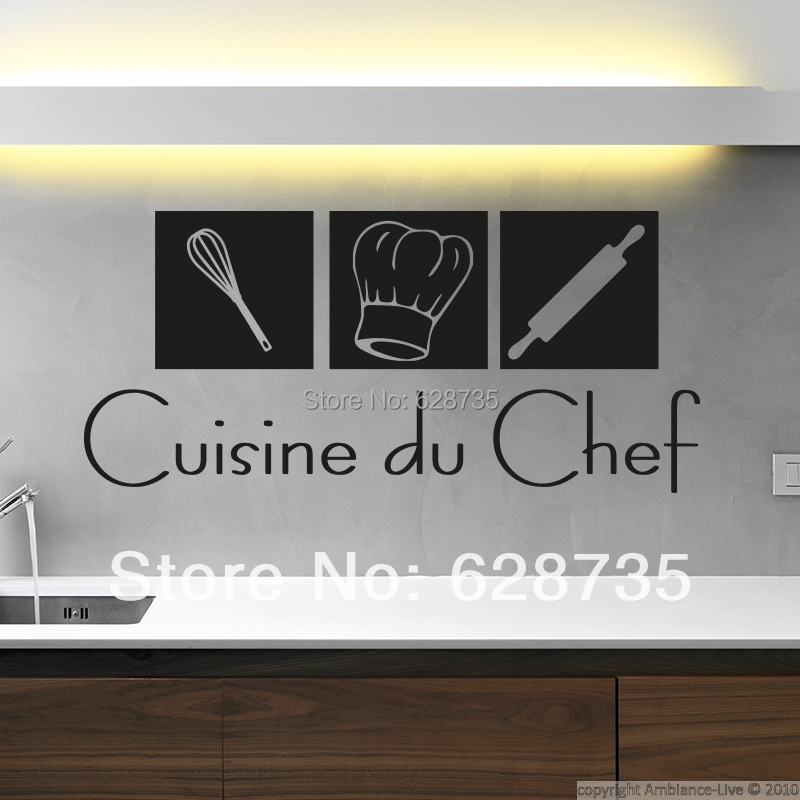 Free shipping modern french wall stickers cuisine home for Deco murale cuisine