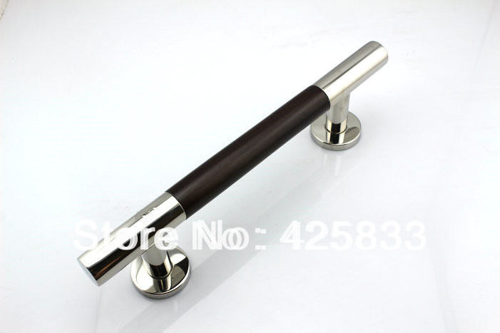300mm 304 Stainless Steel & Walnut Glass Wood Big Door Handles Furniture Dresser Chrome Silver Pulls and Knobs Drawer Hardware(China (Mainland))
