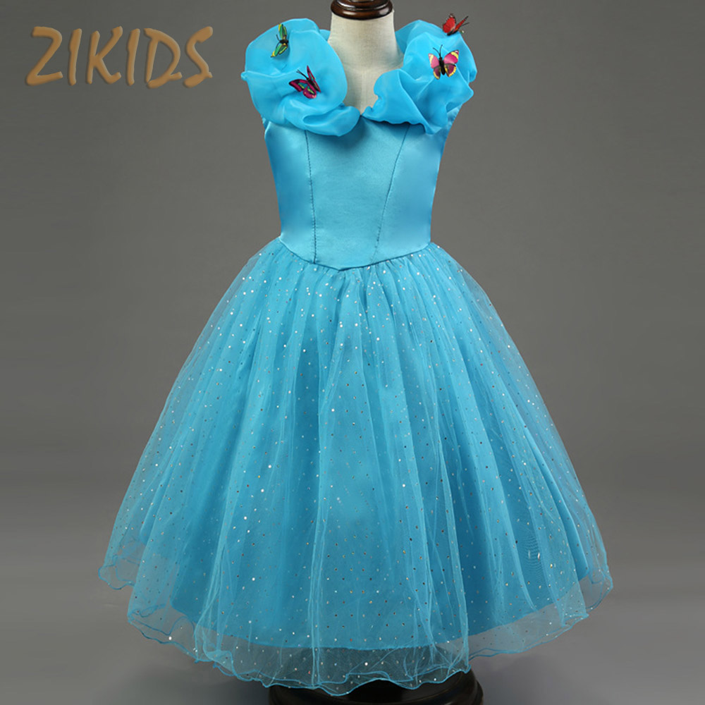 Summer Dress Girl Cinderella Cosplay Costume Snow White Princess Party Butterfly Girls Clothing Children Brand Kids Clothes(China (Mainland))