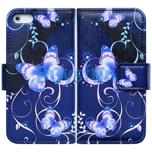 Beautiful Purple Butterfly Wallet Leather Cover Case For iPhone 5S