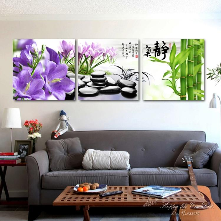 3 panel modern art Modern oil Painting Home Decorative wall Art Paint Canvas Print Stones bamboo orchid - If you come here store