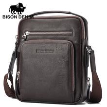 BISON DENIM Brand 100% Genuine Leather Bag Men iPad Tabelt Cowskin crossbody bag Men's Handbags Bags for gift High Quality(China (Mainland))