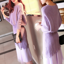 New Women Batwing-Sleeved Dress Autum&Winter Violet Long Cashmere Sweater Dress+Chiffon Voile Dress Casual 2pc Set Vestidos(China (Mainland))