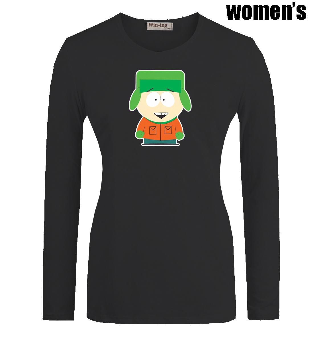 Mignon de bande dessinée South Park Kyle Broflovski imprimé t - shirt nouveaux Casual manches longues de haute qualité femmes girl 's Graphic Tee Tops(China (Mainland))