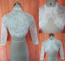 Blanco / de marfil negro manga larga de encaje novia de la boda chaqueta chales y abrigos alto Quanlity botones de la boda de la chaqueta(China (Mainland))
