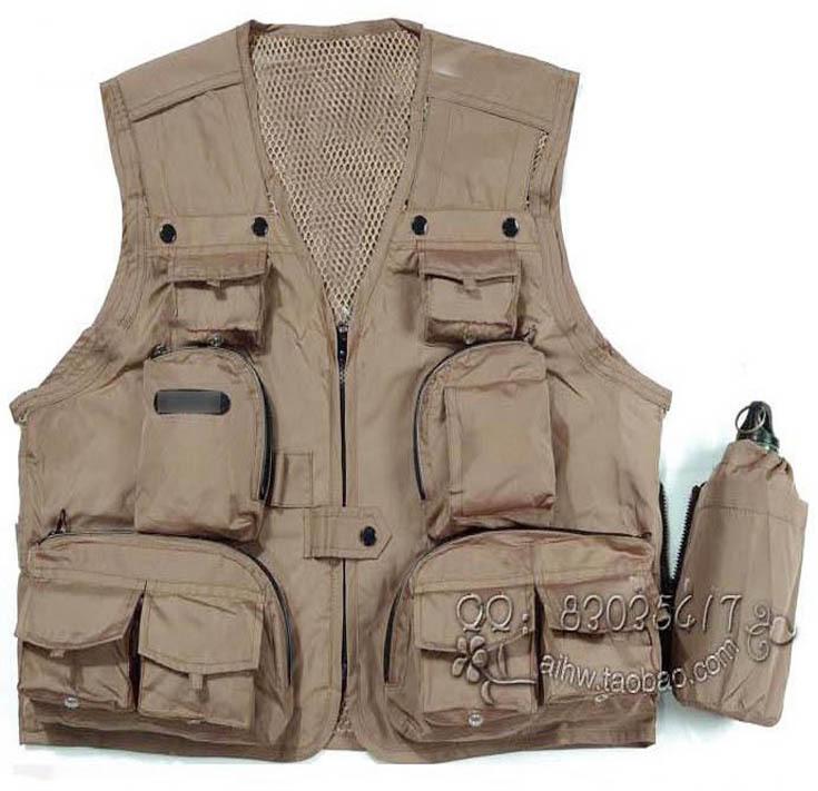 Multi-pocket men's outdoor Spring Autumn photography cameraman vest ,the overalls director reporter  -  merry xu's store store