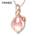 2016 New Trendy Rose Gold Necklaces Pendants Luxury 3 9 ct Natural Pink Quartz Pendant Necklace