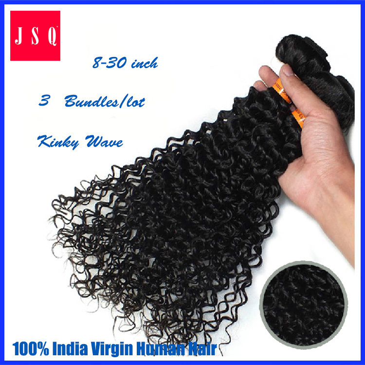 Free Shipping JSQ 8-30inch Kinky Curly Natural Color 1B Hair Weft Machine Weaving 100% India hair (W2I7KC)(China (Mainland))