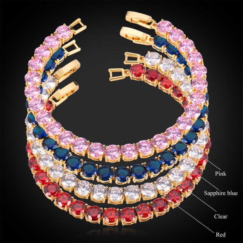 Bracelets Women / Girl 18K Gold Plated MGC 4 Colors AAA+ Luxury Cubic Zircon Crystal 2015 Trendy Jewelry Charm Bracelet H404(China (Mainland))
