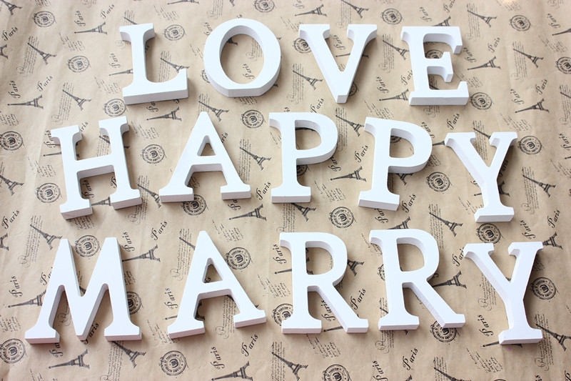 A Z letters free optional White Wooden Wood Letters Alphabet Word decoration wedding decoration centerpieces wall