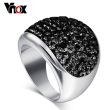 Wholesale 7 color big rings for women full austria black crystal ring stainless steel bijoux high quality(China (Mainland))