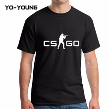 Buy Yo-Young Men T Shirts Pop Game CS GO Letters LOGO PU Printed 100% 180g Combed Cotton Summer Casual T shirts Men Customized for $12.99 in AliExpress store