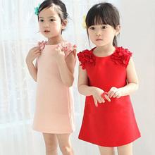 2016 vestidos Baby kids girls clothes summer  girls Sleeveless 100% Cotton  princess dress 1-8 years   girls clothes