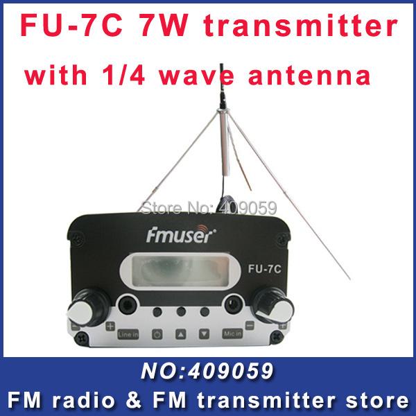 FU-7C 7w broadcast fm radio transmitter Black fm radio transmitter+GP fm broadcast antenna FREE Shipping by EMS/DHL/FEDEX(China (Mainland))