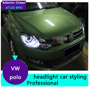 AUTO.PRO vw polo headlights 2011-2014 model bi xenon lens car styling H7 parking LED vw polo head lamps led bar car led light(China (Mainland))