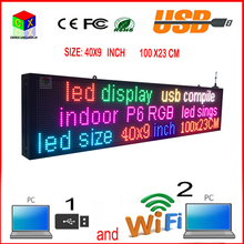 40X9 inch full-color RGB LED sign wireless and usb programmable rolling information P6 indoor led display screen(China (Mainland))
