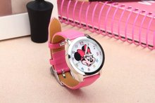 retail 2016 newest hot sales 3D cartoon Minnie boys girls women watch gifts students small leather alloy wristwatch