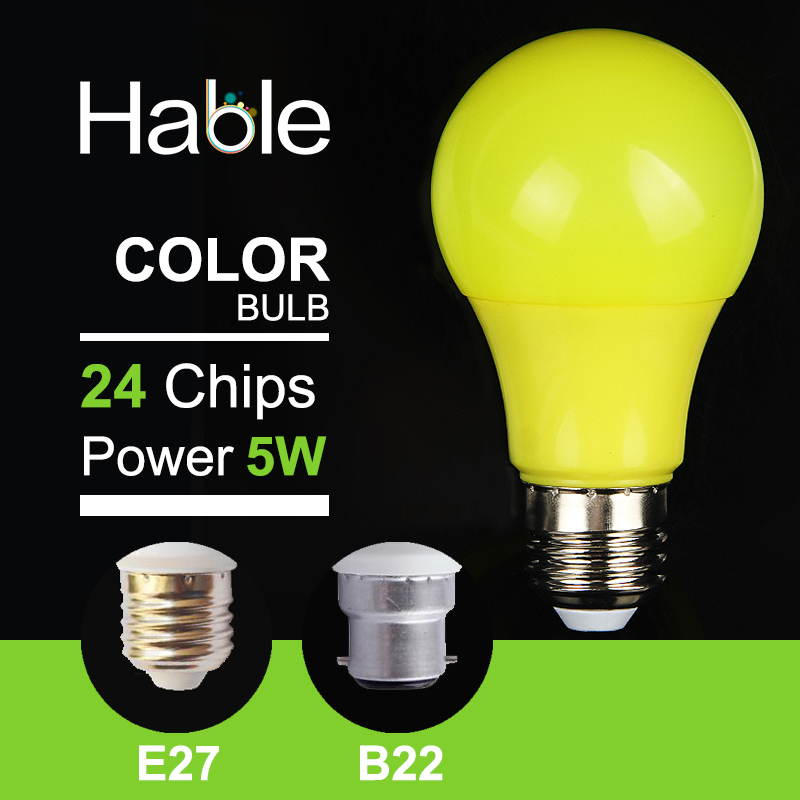 Hable High Quality 5W 220V Yellow LED Bulb Light E27 B22 SMD 2835 Colorful LED Lamp Warm White(China (Mainland))