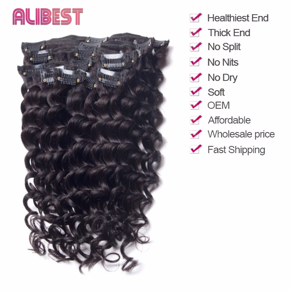 Brazilian Deep Wave Unprocessed Virgin Hair Clip In Human Hair Extensions 70G Clips Ins Extensions 10″-28″Deep Wave Clip Ins