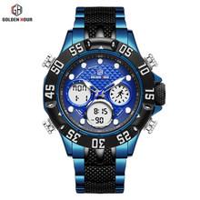 GOLDENHOUR Mens ספורט אנלוגי דיגיטלי שעונים חיצוני עמיד למים גדול מקרה צבאי שעון יד מלא נירוסטה קוורץ זכר שעון(China)