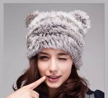 Free Shipping Genuine Knit Rabbit Fur Hat Nature Rabbit fur Cap Headgear Headdress Various Fashion Women(China (Mainland))