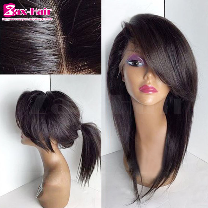 Фотография Silky Straight Full Lace Wig Glueless Lace Front Wig Human Hair Wigs For Black Women 7A Virgin Brazilian Hair Remy Full Lace Wig
