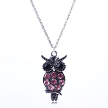 2014 New Arrival Vintage Jewlery Pink Crystal Owl Pendant Necklace For Women Silver Pendant Wholesale Price XL5683