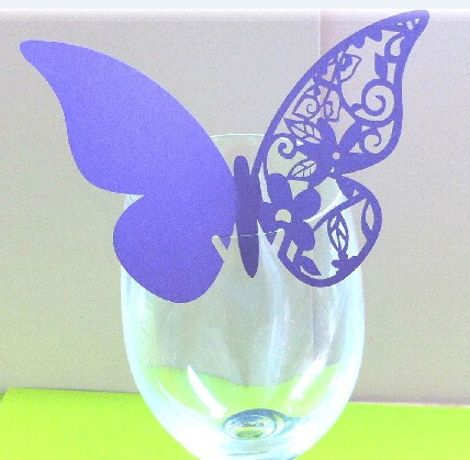 Bar cocktail Glass Markers Restaurant Table Cards decorations wedding birthday party Cake Toppers Place Card purple butterfly B2(China (Mainland))