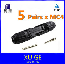 5 pairs/lot  MC4 solar connector PPO housing material. TUV approved PV connector.(China (Mainland))