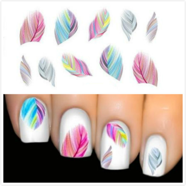 Hot Sale Women Beauty Feather Nail Art Water Transfer Nail Art Stickers Tips Feather Decals(China (Mainland))