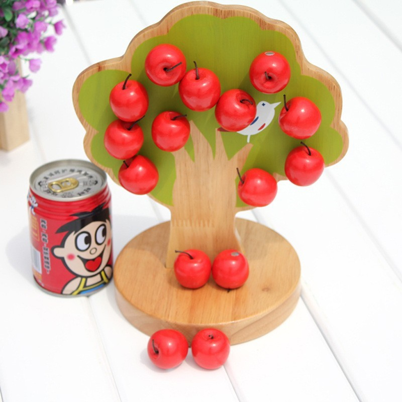 Brand baby wooden Math learning Toy / Kids Child 3D puzzle Magnetic apple tree/ Montessori Early Education toys/ Christmas gifts - Children toy's store